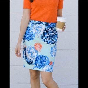 J. Crew Basketweave Floral Pencil Skirt Sz 00P